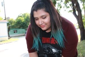 Ami Garza teal hair ombre