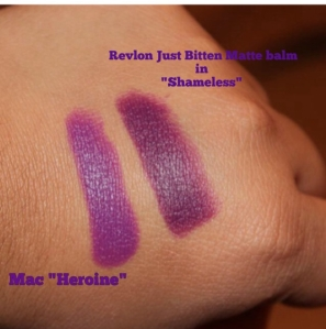 Mac Heroine and Revlon's Shameless side by side