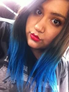 Ami Garza blue hair ombre